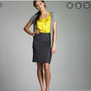 J. Crew The Pencil Skirt Double Serge Wool (Gray)